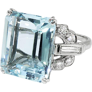 Vintage 8.46ct t.w. Emerald Cut Aquamarine Ring Circa 1940's Diamond Birthstone Engagement Wedding Ring Platinum