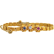 "Antique Bracelet Victorian 1890's Old Mine Cut Diamond Blue Sapphire Ruby Knot 14k Yellow Gold Bracelet 6.25"" Inches"