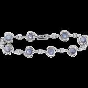 Vintage Art Deco 1930's Rare Gray Star Sapphire & Diamond Bracelet 10k White Gold