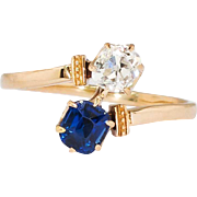 Antique Victorian 1890's Blue Sapphire & Old Mine Cut Diamond Bypass Engagement Birthstone Anniversary 18k Rose Yellow Gold