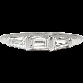 Vintage Estate Retro 1960's Platinum Three Stone Baguette Diamond Wedding Stacking Ring Band