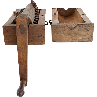 Hand Carved Wooden Primitive Tobacco Shredder, Pre-Civil War