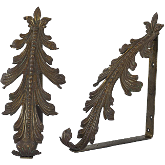 Pair of Bronze Acantus Leaf Corbels