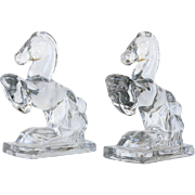 Glass Rearing Horse Bookends, Pr
