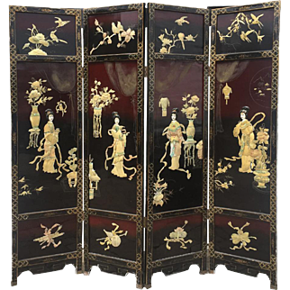 Asian Lacquer Screen Room Divider Mother of Pearl