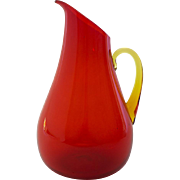 Hand Blown Glass Pitcher, Orange with Amber Handle
