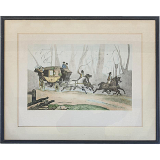 French Etching of a Carriage & Horses