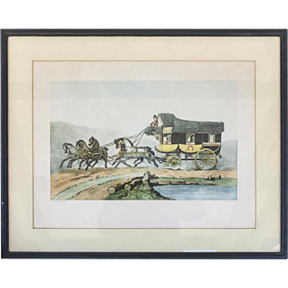 Vintage Horse and Carriage Etching, France