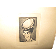 Signed Rouault, Woman With Hat, 1929 Etching
