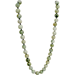Burmese Spinach Jade Bead Necklace