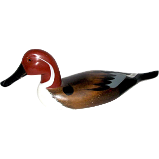 Red Head Duck Wooden Decoy/Hand-Crafted