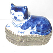 Ceramic Cat/Silver Box, Tribal Art