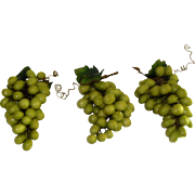Three Bunches of Paper Mache` Grapes