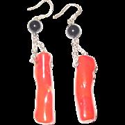 Coral & Onyx Dangle Earrings