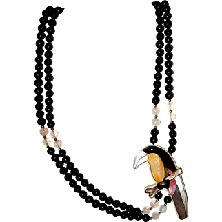 Onyx, Mother-of-Pearl Toucan Necklace
