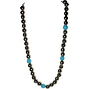 Silver Metal and Agate Beaded Necklace