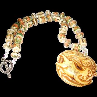 Netsuke Style Beaded Cat Necklace