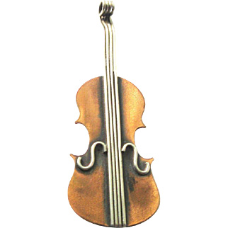 Copper Violin Pin