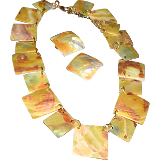 Mother of Pearl Geometric Necklace & Earrings