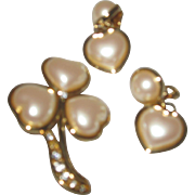 Valentine Pearl Brooch/Earring Set by Monet
