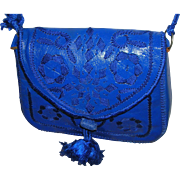 Hand-Tooled Blue Moroccan Leather Purse