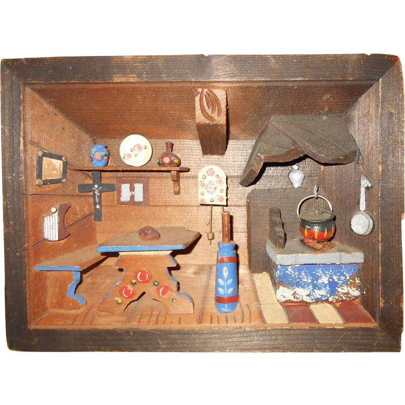 Small room box with kitchen scene from theorphanage on ruby lane