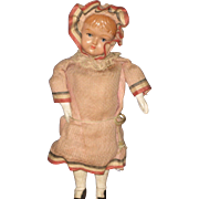 """Antique Patriotic celluloid and wood doll 8"""" tall"""