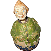 "Roly poly little boy papier mache 4 1/4"" - Red Tag Sale Item"