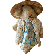 "Steiff mohair 6"" Niki Rabbit dressed for a Tea Party"