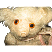 White Long Mohair Big Eyed Helvectic Ted 1930's Musical