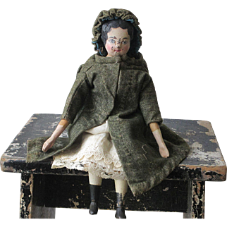 """Antique Wooden 12"""" Doll"""