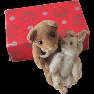 Cordoroy Brown Teddy Bear with tiny white rabbit