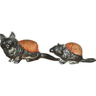 Antique cat and mouse pin cushions HTF