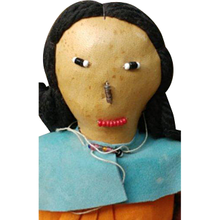Nice Vintage Native American Doll Leather with Beaded Details