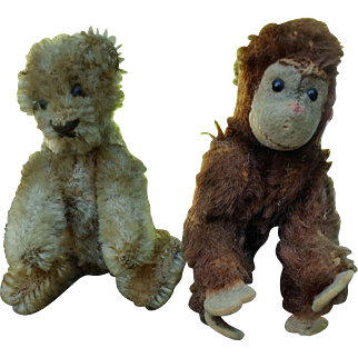 Well Loved Steiff Miniature Teddy Bear with his Steiff Monkey Friend