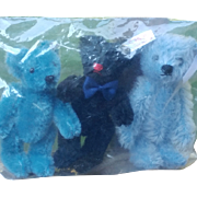 3 Little Steiff Bears Still Sealed -- 2 Blue Mohair Teds and 1 Black Mohair Teddy Bear