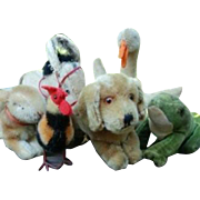 Lot of Vintage Steiff Critters Dog, Rabbit, Rooster, Goose, Frog, Bunny, and Donkey