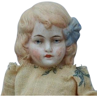 Sweet German All Bisque Doll with Molded Hair