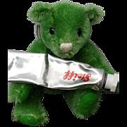 Orphaned Green Mohair Steiff Artist Palette Teddy Bear