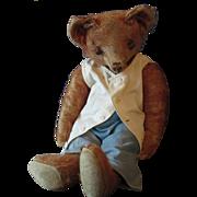 """Worn Orange Mohair 14"""" Teddy"""