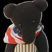Patriotic Black Mohair Artist Teddy Bear