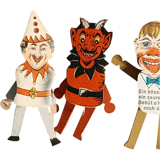6 Fabulous Old German Store Stock Paper and Wood Puppet Pins