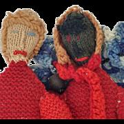 Fabulous Pair of Vintage Crochet Knit Doll