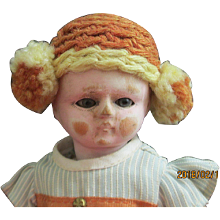 "Bebe Tout En Bois Doll all of wood 8 "" tall"