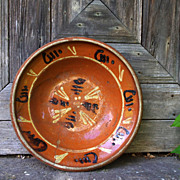 French / German (Alsace) soufflenheim orange glazed clay decorated platter