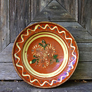 French / German (Alsace) antique soufflenheim orange glazed clay decorated platter