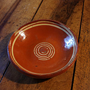 French / German (Alsace) traditional glazed clay platter with spiral symbol