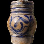 Mini French / German (Alsace) blue glazed stoneware pitcher