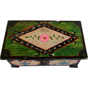 Vintage French small painted wood box