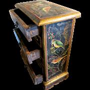 Charming Art Nouveau handpainted wooden jewel box